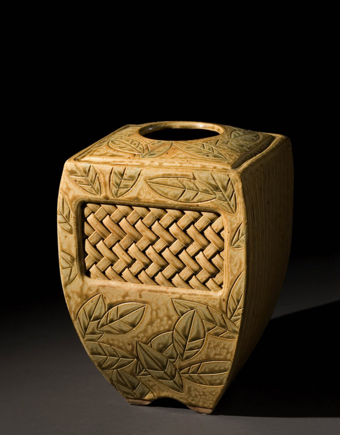 Woven Inset Vase – Gold