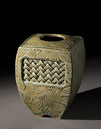 Woven Inset Vase – Sage