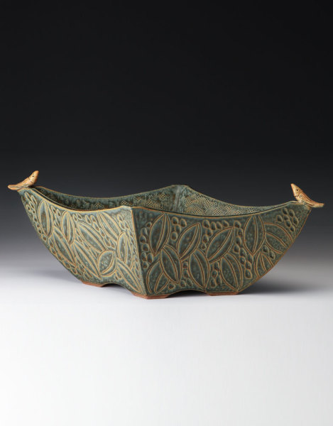 4 sided bowl with birds - sage