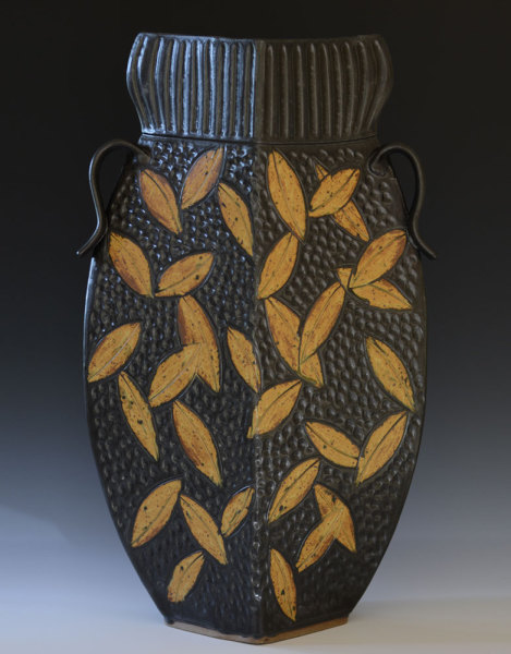 Black Collared Vase with Leaves
