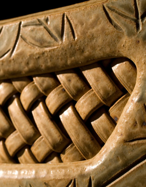 Detail - Gold vessel with woven inset