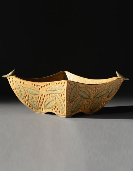 Gold 4 Sided Bowl with Birds