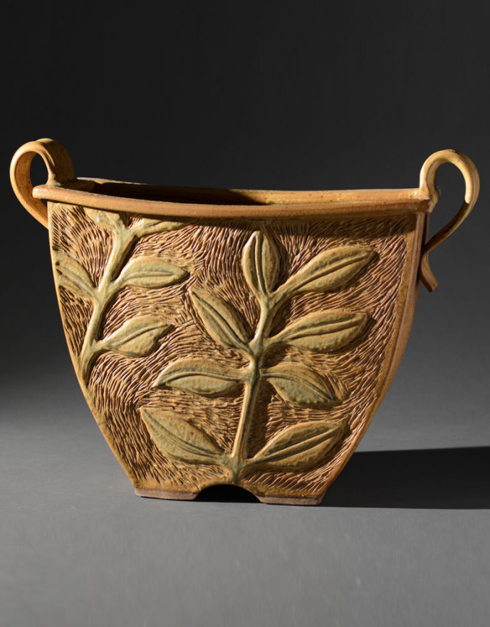 Gold Bucket with Relief Carviing