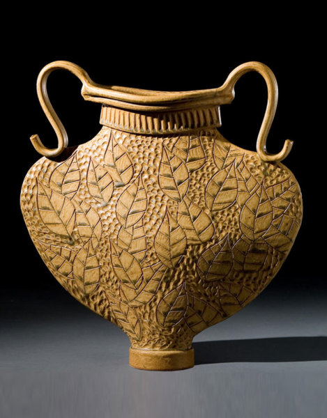 Flat Round Vase Gold Jim Shirl Parmentier Pottery