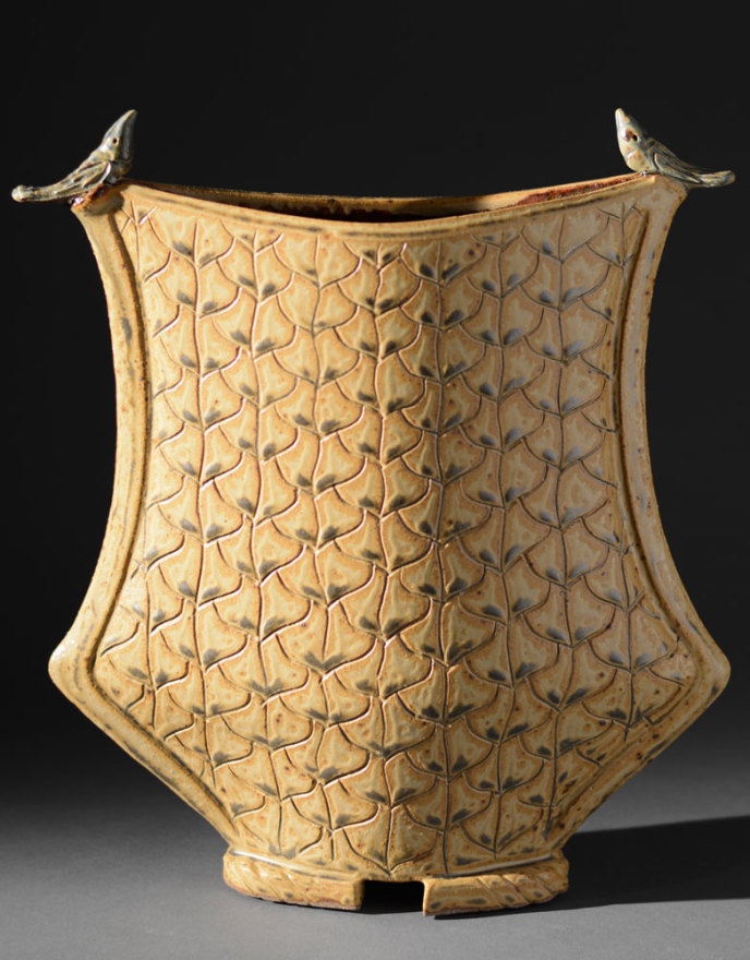 Gold vessel with birds