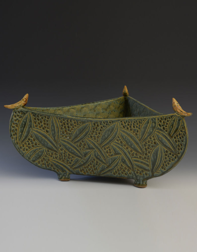 Large Sage 3 Sided Bowl with Birds