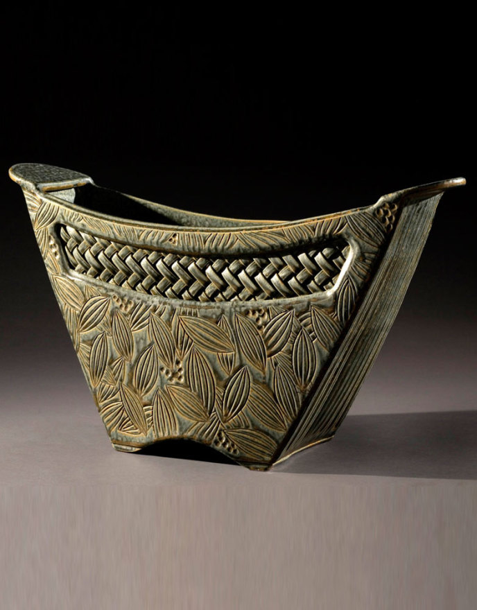 Sage Bucket with Woven Inset