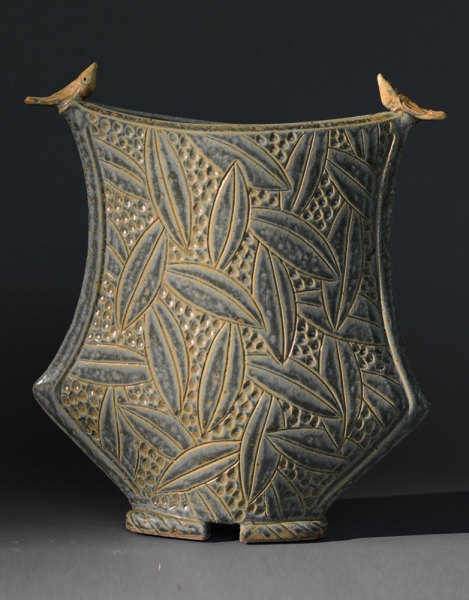 Sage Greek Vase with Birds